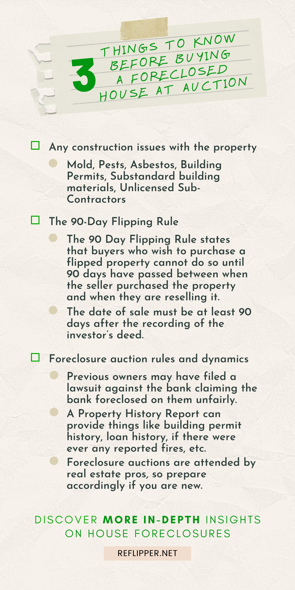 An infographic describing 3 things to know before buying a foreclosed house at auction.