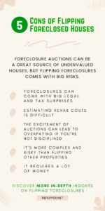 An infographic describing the 5 Cons of Flipping Foreclosed Houses