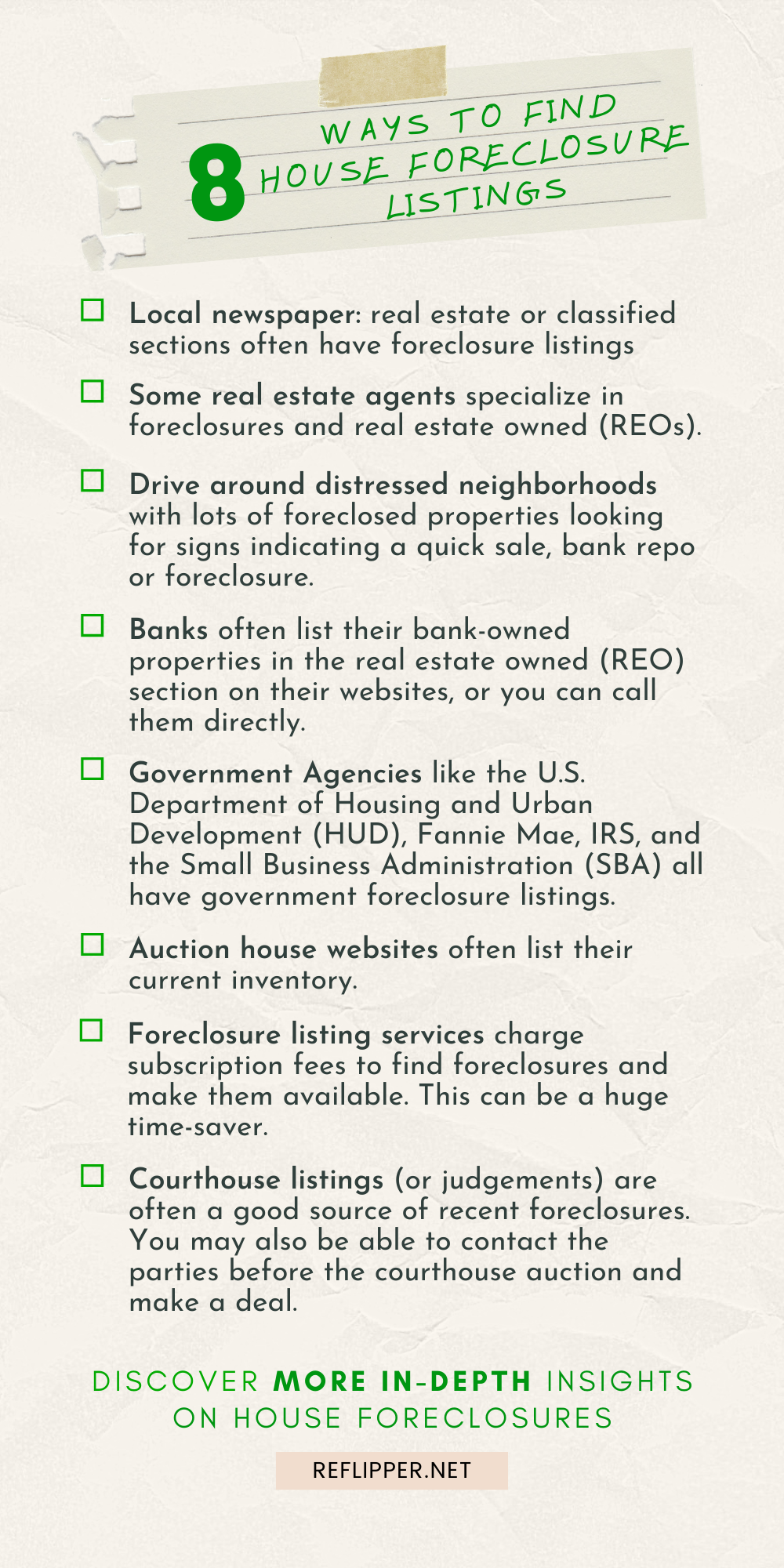 An infographic describing 8 ways to find house foreclosure listings.